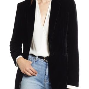 HALOGEN Women's Black Velvet Two-Button Blazer NWT